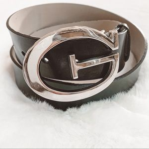 Guess black leather silver large logo belt